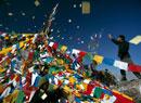 Pilgrim, prayer flags,Tibetan New Year