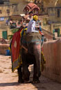 Mahout and tourist on elephant at Amber Fort