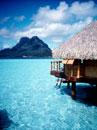 Wooden hut in lagoon