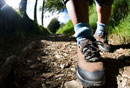 Leg of female walker on country footpath at edge of woods,