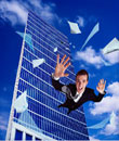 Businessman Falling from Office Tower Window