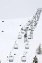 Switzerland, Graubunden, Arosa, Empty ski lift chairs, elevated view