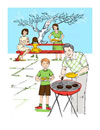 Illustration of Family Having a Barbecue