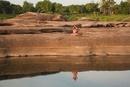 Girl Meditating by Pond at SamPanBok, Ubon Ratchathani Provi