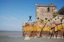 Man Jumping in the Air on the Beach, France