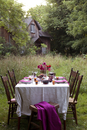 Table set outdoors in summer for entertaining, with house in background, Canada