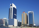 Cityscape of office buildings in the developing business center of the