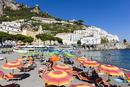 Colorful sun umbrellas on the beach, Amalfi, Province of Salerno, Amalfi Coast, Campania, Italy