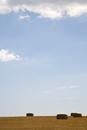 Rectangular hay bales and blue sky
