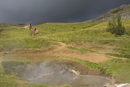 Iceland, Two men mountain biking