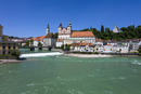 Austria, Upper Austria, View of River Enns and St Michael