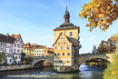Germany, Bamberg, view to the old city hall with Regnitz River in the foreground