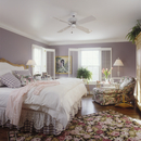 BEDROOMS - Romantic,  French style upholstered headboard, white comforter, lace, grey checked bedskirt and pillows, cabbage rose