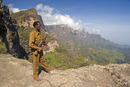 Simien Mountains Park Ranger, Dramatic mountain scenery from the area around Geech, UNESCO World Heritage Site, Simien Mountains