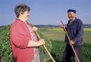 Farming couple at work, near Svihov, West Bohemia, Czech Republic, Europe