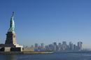 Statue of Liberty, Liberty Island and Manhattan skyline beyond, New York City, New York, United States of America, North America