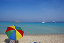 Colourful umbrella on Playa de ses Illetes beach, Formentera, Balearic Islands, Spain, Mediterranean, Europe