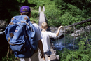 Father and son hike to Anderson Pass, Enchanted Valley, Olympic National Park, UNESCO World Heritage Site, Washington State, Uni