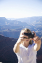 Woman taking pictures, Grand Canyon National Park, UNESCO World Heritage Site, Arizona, United States of America, North America