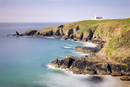 Looking across Housel Bay to The Lizard Lighthouse, Lizard, Cornwall, England, United Kingdom, Europe
