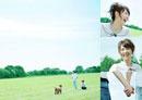 草原で幸せそうに犬と遊ぶカップルのコラージュ
