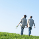 草原で野花を手に散歩するシニア夫婦の後姿