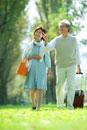 ポプラ並木を歩くシニア夫婦