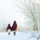 雪道を歩く親子の後姿