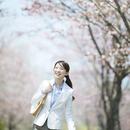 桜並木道を歩くビジネスウーマン