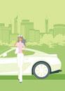車のそばに立つ女性
