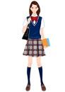 夏の制服を着て立つ女子学生