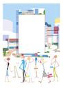 街のメッセージボードを眺める人々