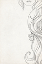 Cropped close up line drawing of woman's long curly hair