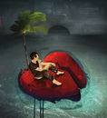 Man on stranded broken heart island