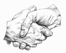 Close up pencil drawing of shaking hands