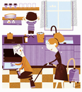 Happy family working together in kitchen to spring clean hom