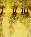 Autumn trees in yellow landscape
