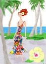 海の近くを散歩する女性