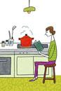 本を読みながら料理をする女性