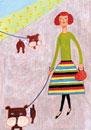 犬と散歩する女の子
