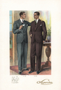 Men in suits and spats with business card