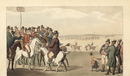 Horse racing at the racetrack.