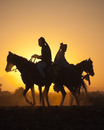 Silhouette of two traditionally dressed Indian riders, mount