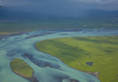 River patterns from melting glacier. Olfusa river, Southwest Iceland, July 2009