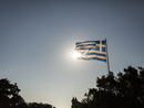Greek flag and trees