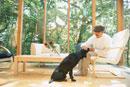 リビングでくつろぐ男性と犬