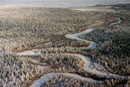 Aerial view of taiga (boreal forest) with a newly frozen riv