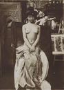 Model posing in Mucha's studio, Rue du Val de Grace, Paris, c. 1902 (gelatin silver print)