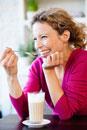 Woman drinking caffe latte