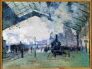 Vue de la gare saint Lazare a Paris et du train de Normandie